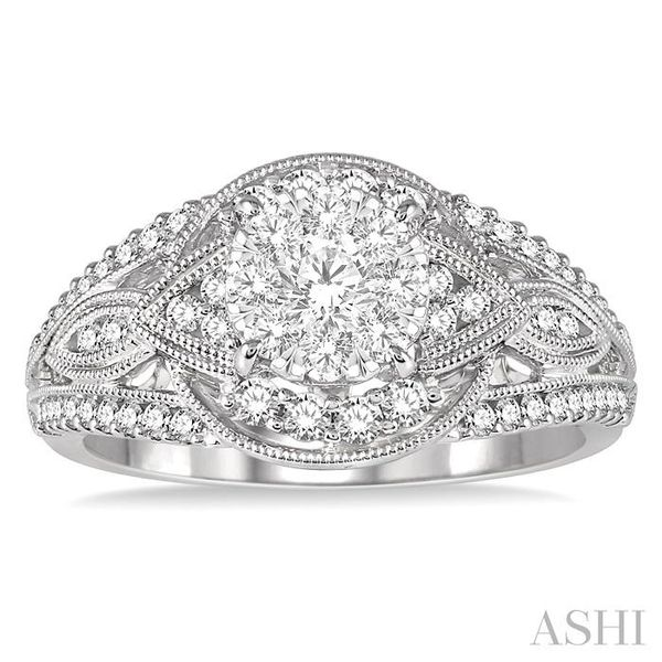 7/8 Ctw Round Diamond Lovebright Engagement Ring in 14K White Gold Image 2 Seita Jewelers Tarentum, PA
