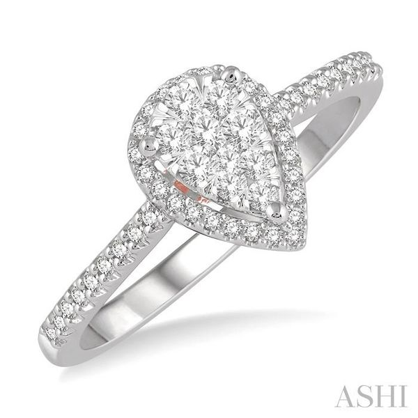 1/3 Ctw Pear Shape Round Cut Diamond Lovebright Ring in 14K White and Rose Gold Seita Jewelers Tarentum, PA