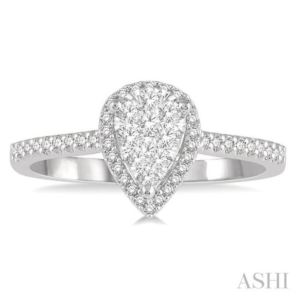 1/3 Ctw Pear Shape Round Cut Diamond Lovebright Ring in 14K White and Rose Gold Image 2 Seita Jewelers Tarentum, PA