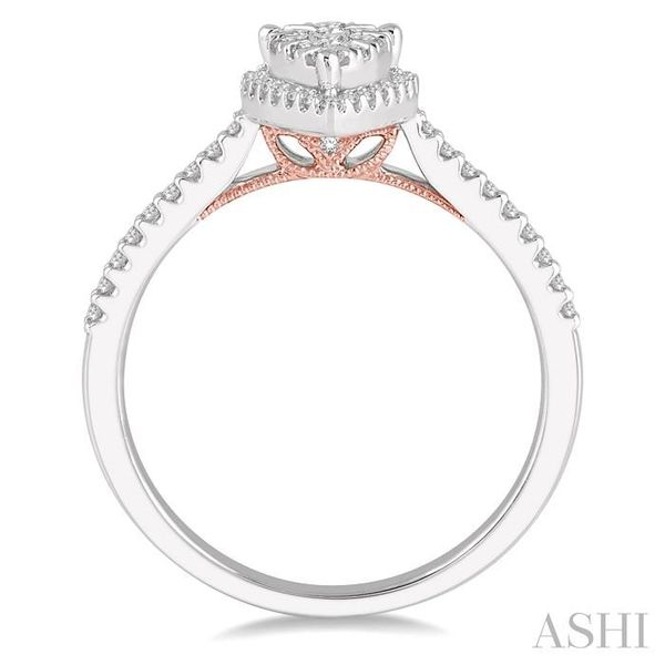 1/3 Ctw Pear Shape Round Cut Diamond Lovebright Ring in 14K White and Rose Gold Image 3 Seita Jewelers Tarentum, PA