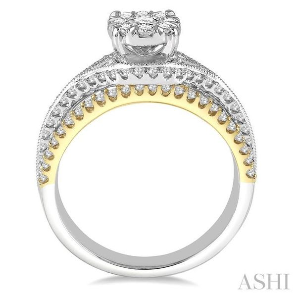 1 1/10 Ctw Round Diamond Lovebright Solitaire Style Engagement Ring in 14K White and Yellow Gold Image 3 Seita Jewelers Tarentum, PA