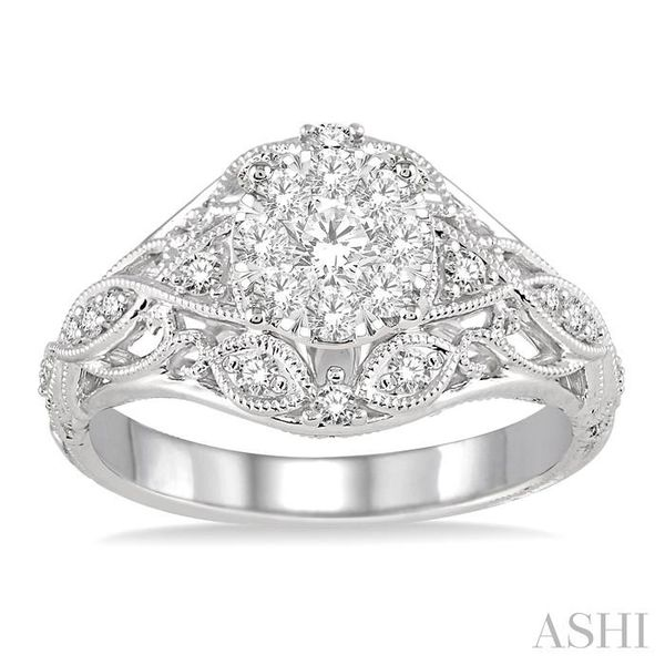 1/2 Ctw Lovebright Engagement Ring with Center Stone in 14K White Gold Image 2 Seita Jewelers Tarentum, PA