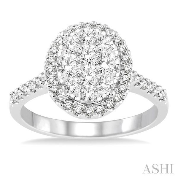 1 Ctw Oval Shape Diamond Lovebright Ring in 14K White Gold Image 2 Seita Jewelers Tarentum, PA