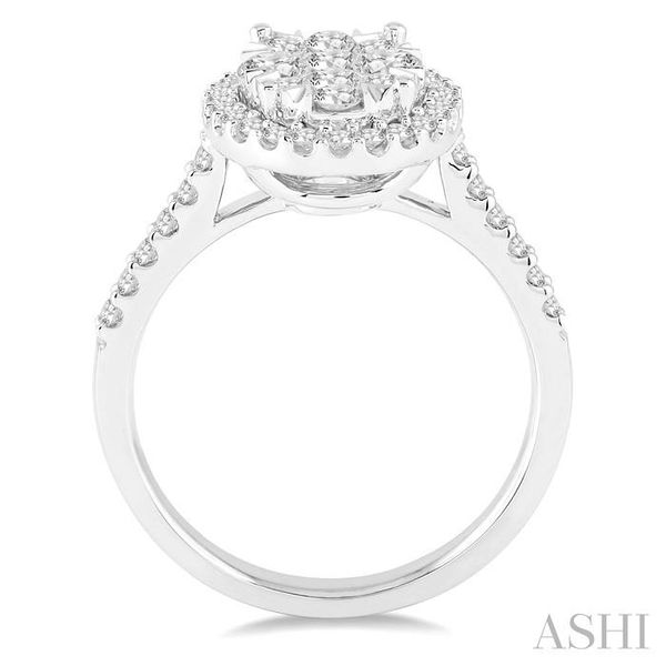 1 Ctw Oval Shape Diamond Lovebright Ring in 14K White Gold Image 3 Seita Jewelers Tarentum, PA