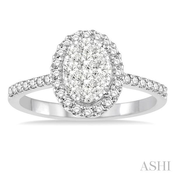 3/4 Ctw Oval Shape Diamond Lovebright Ring in 14K White Gold Image 2 Seita Jewelers Tarentum, PA