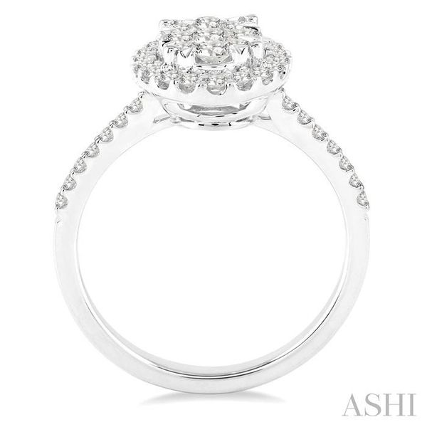 3/4 Ctw Oval Shape Diamond Lovebright Ring in 14K White Gold Image 3 Seita Jewelers Tarentum, PA