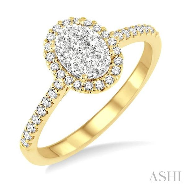 1/2 Ctw Oval Shape Diamond Lovebright Ring in 14K Yellow and White Gold Seita Jewelers Tarentum, PA