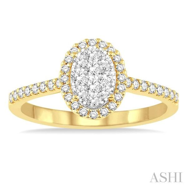 1/2 Ctw Oval Shape Diamond Lovebright Ring in 14K Yellow and White Gold Image 2 Seita Jewelers Tarentum, PA