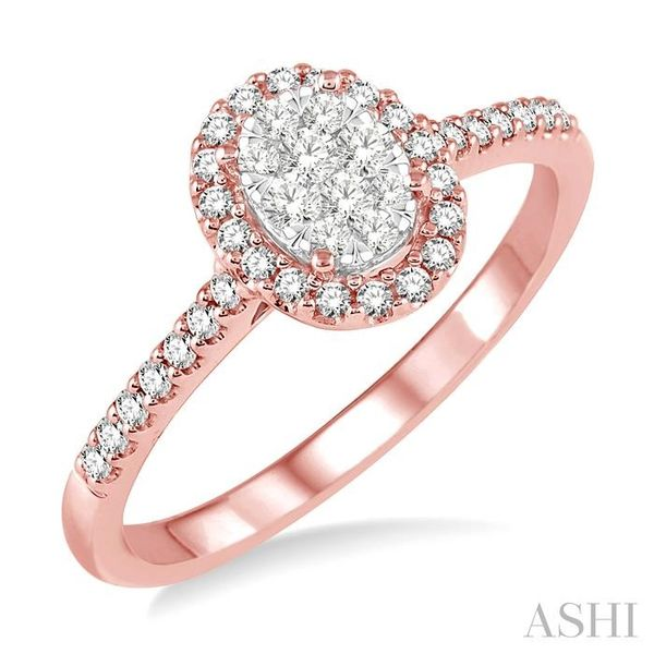 1/3 Ctw Oval Shape Diamond Lovebright Ring in 14K Rose and White Gold Seita Jewelers Tarentum, PA