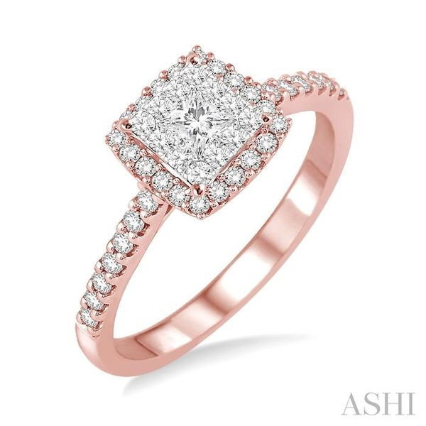 1/2 Ctw Square Shape Diamond Lovebright Ring in 14K Rose and White Gold Seita Jewelers Tarentum, PA