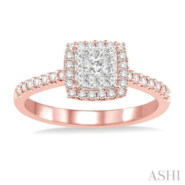 1/2 Ctw Square Shape Diamond Lovebright Ring in 14K Rose and White Gold Image 2 Seita Jewelers Tarentum, PA