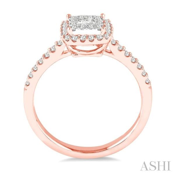 1/2 Ctw Square Shape Diamond Lovebright Ring in 14K Rose and White Gold Image 3 Seita Jewelers Tarentum, PA