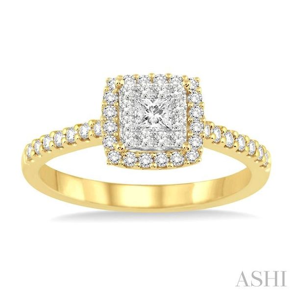 1/2 Ctw Square Shape Diamond Lovebright Ring in 14K Yellow and White Gold Image 2 Seita Jewelers Tarentum, PA