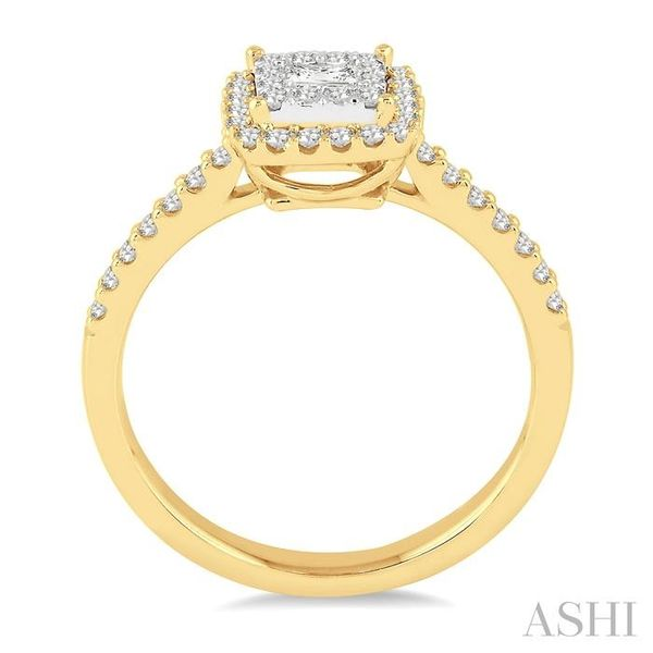 1/2 Ctw Square Shape Diamond Lovebright Ring in 14K Yellow and White Gold Image 3 Seita Jewelers Tarentum, PA