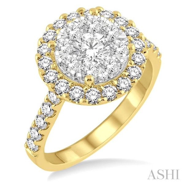 1 1/2 Ctw Round Shape Diamond Lovebright Ring in 14K Yellow Gold Seita Jewelers Tarentum, PA