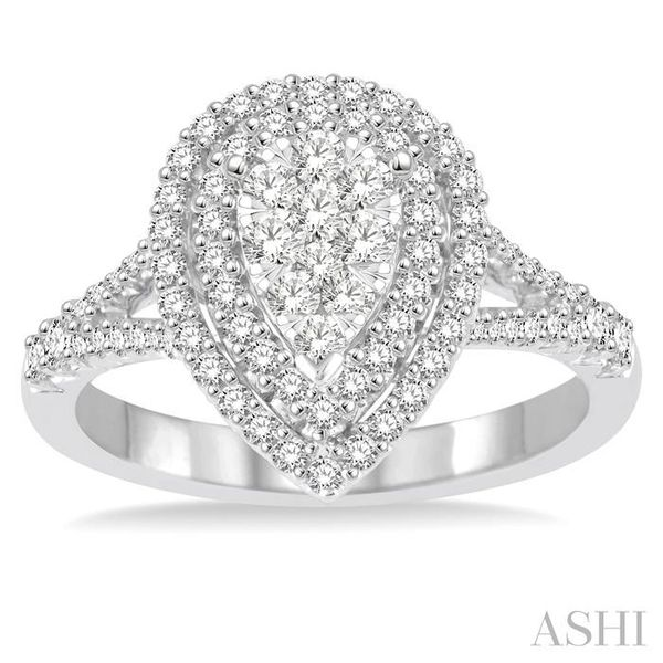 3/4 Ctw Pear shape Diamond Lovebright Diamond Ring in 14K White Gold Image 2 Seita Jewelers Tarentum, PA