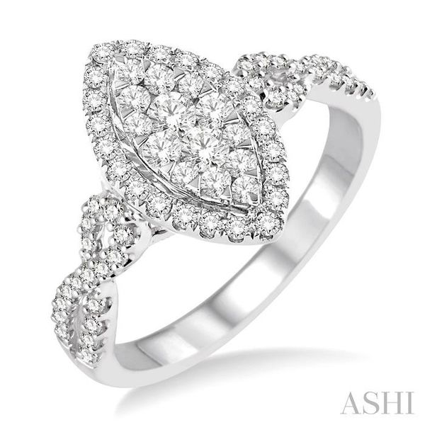 3/4 Ctw Marquise Shape Diamond Lovebright Ring in 14K White Gold Seita Jewelers Tarentum, PA
