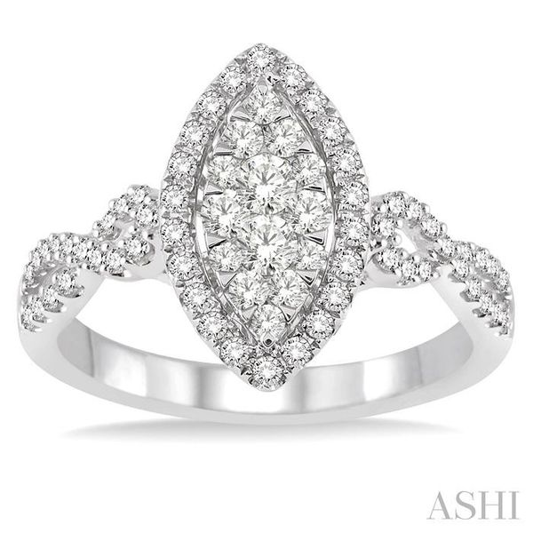 3/4 Ctw Marquise Shape Diamond Lovebright Ring in 14K White Gold Image 2 Seita Jewelers Tarentum, PA