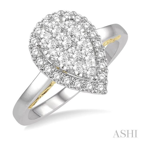3/4 Ctw Pear Shape Lovebright Round Cut Diamond Ring in 14K White and Yellow Gold Seita Jewelers Tarentum, PA
