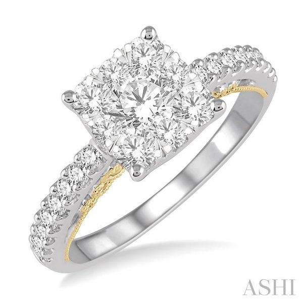 1 1/10 Ctw Round Diamond Lovebright Square Shape Engagement Ring in 14K White and Yellow Gold Seita Jewelers Tarentum, PA