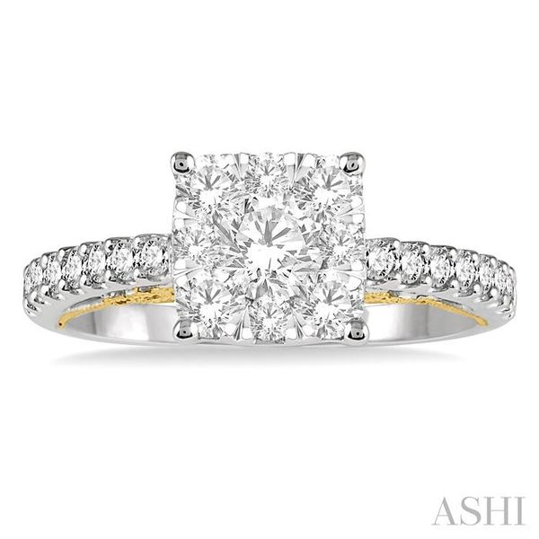1 1/10 Ctw Round Diamond Lovebright Square Shape Engagement Ring in 14K White and Yellow Gold Image 2 Seita Jewelers Tarentum, PA