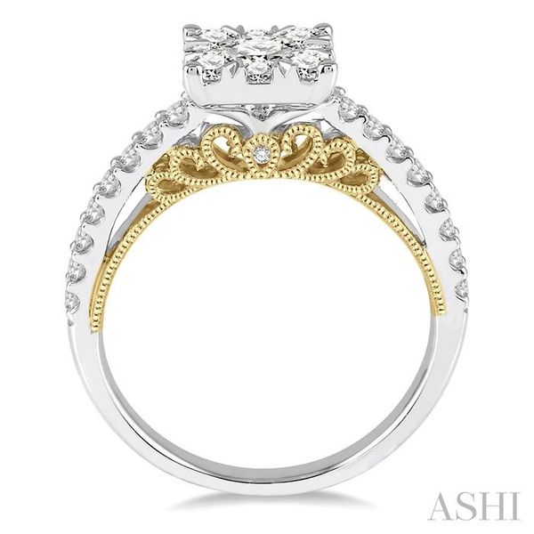 1 1/10 Ctw Round Diamond Lovebright Square Shape Engagement Ring in 14K White and Yellow Gold Image 3 Seita Jewelers Tarentum, PA
