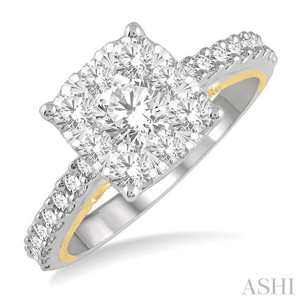 1 1/2 Ctw Round Diamond Lovebright Square Shape Engagement Ring in 14K White and Yellow Gold Seita Jewelers Tarentum, PA