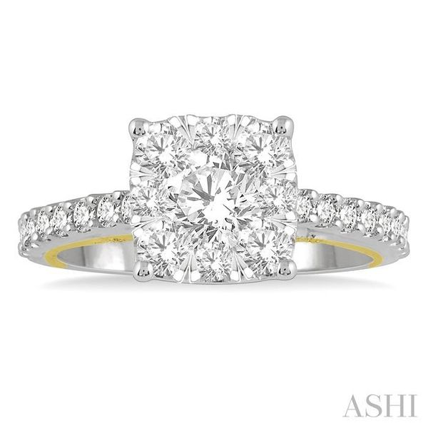 1 1/2 Ctw Round Diamond Lovebright Square Shape Engagement Ring in 14K White and Yellow Gold Image 2 Seita Jewelers Tarentum, PA