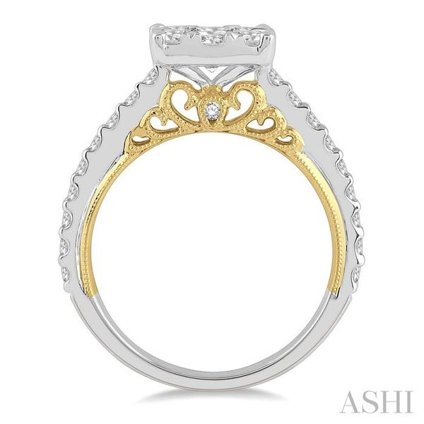 1 1/2 Ctw Round Diamond Lovebright Square Shape Engagement Ring in 14K White and Yellow Gold Image 3 Seita Jewelers Tarentum, PA