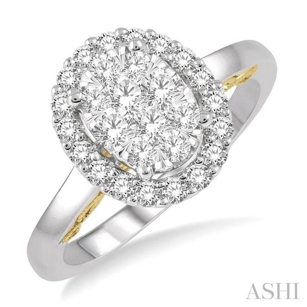 3/4 Ctw Oval Shape Lovebright Round Cut Diamond Ring in 14K White and Yellow Gold Seita Jewelers Tarentum, PA