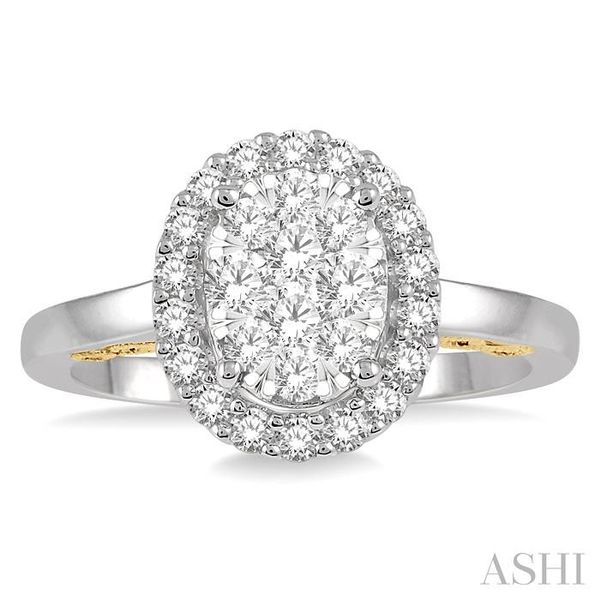 3/4 Ctw Oval Shape Lovebright Round Cut Diamond Ring in 14K White and Yellow Gold Image 2 Seita Jewelers Tarentum, PA
