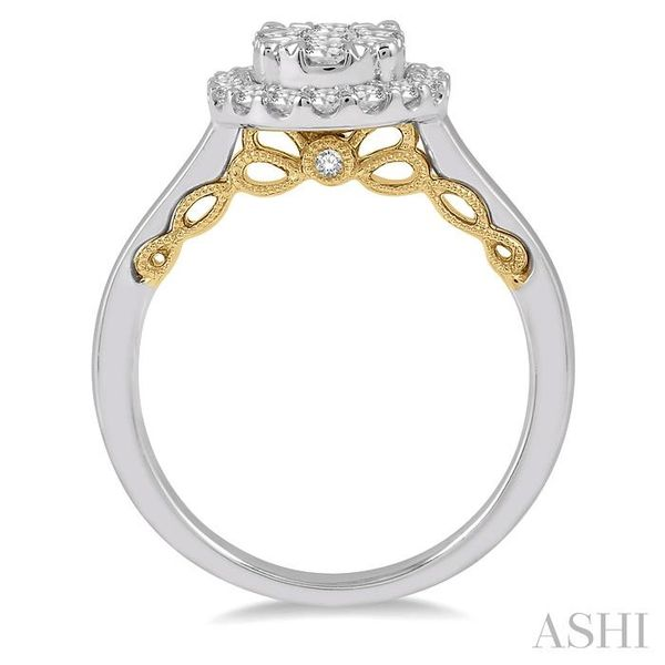 3/4 Ctw Oval Shape Lovebright Round Cut Diamond Ring in 14K White and Yellow Gold Image 3 Seita Jewelers Tarentum, PA