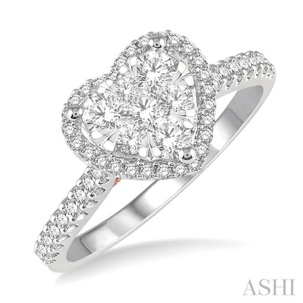 1/2 ct Heart Shape Lovebright Diamond Cluster Ring in 14K White and Rose Gold Seita Jewelers Tarentum, PA