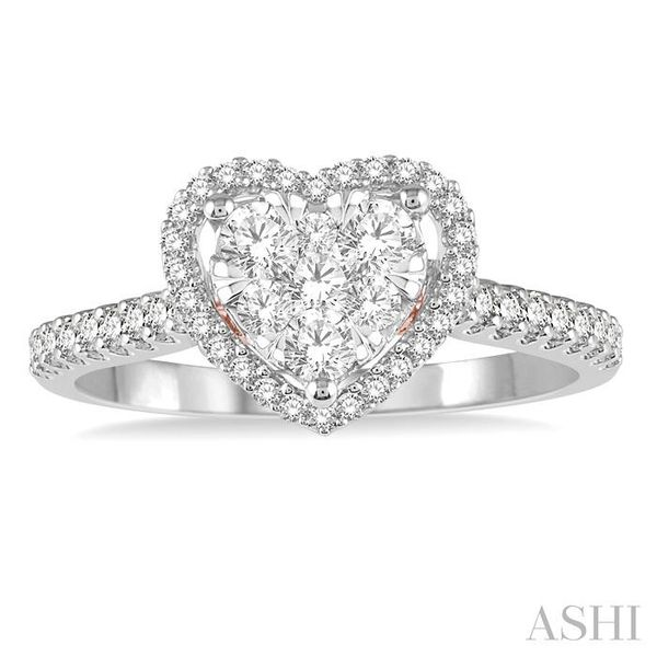 1/2 ct Heart Shape Lovebright Diamond Cluster Ring in 14K White and Rose Gold Image 2 Seita Jewelers Tarentum, PA