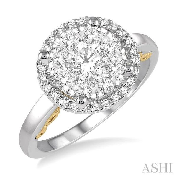 1 Ctw round Diamond Lovebright Solitaire Style Halo Engagement Ring in 14K White and Yellow Gold Seita Jewelers Tarentum, PA