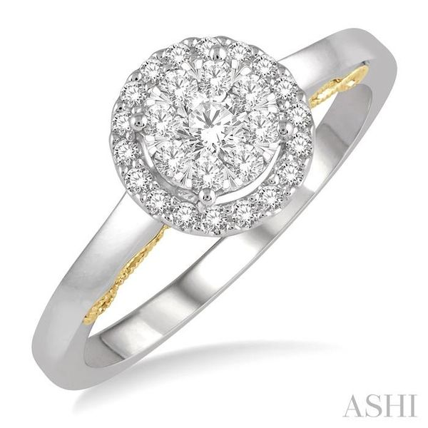 1/3 Ctw round Diamond Lovebright Solitaire Style Halo Engagement Ring in 14K White and Yellow Gold Seita Jewelers Tarentum, PA