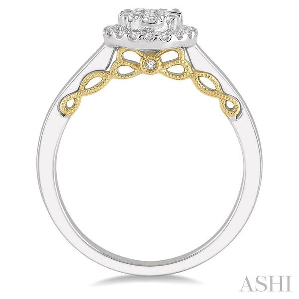 1/3 Ctw round Diamond Lovebright Solitaire Style Halo Engagement Ring in 14K White and Yellow Gold Image 3 Seita Jewelers Tarentum, PA