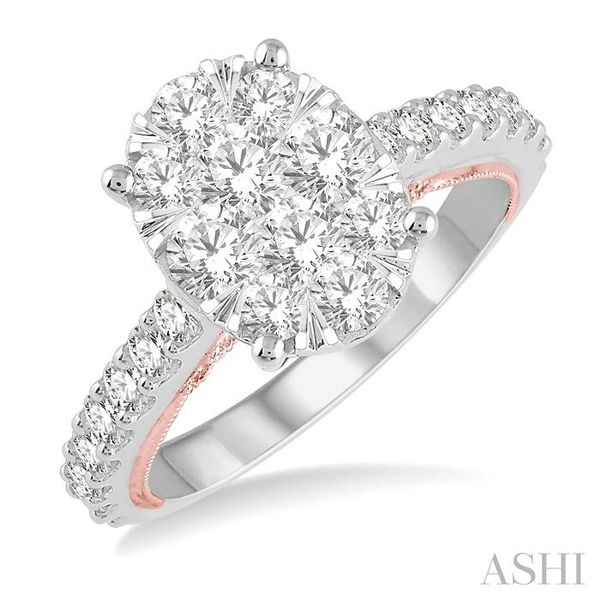 1 1/2 Ctw Oval Shape Lovebright Round Cut Diamond Ring in 14K White and Rose Gold Seita Jewelers Tarentum, PA