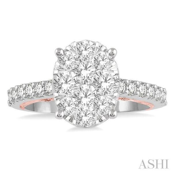 1 1/2 Ctw Oval Shape Lovebright Round Cut Diamond Ring in 14K White and Rose Gold Image 2 Seita Jewelers Tarentum, PA