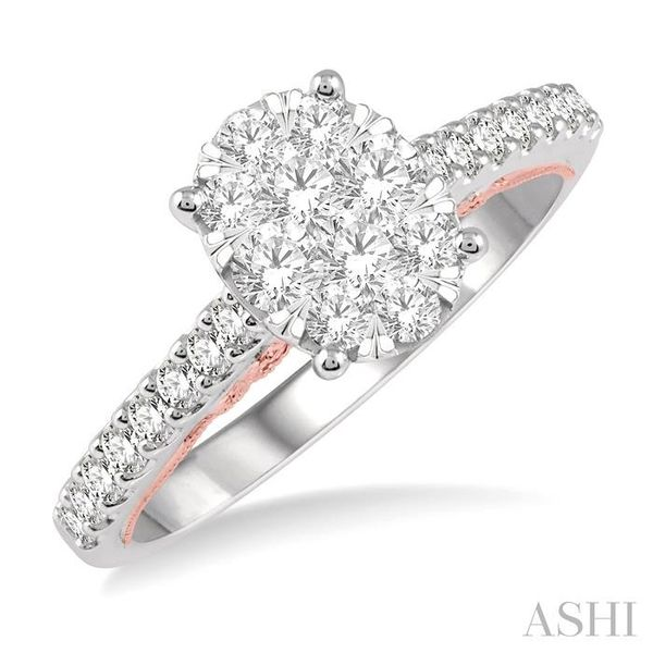 3/4 ct Oval Shape Lovebright Diamond Cluster Ring in 14K White and Rose Gold Seita Jewelers Tarentum, PA