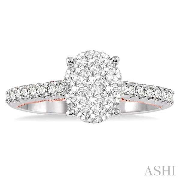 3/4 ct Oval Shape Lovebright Diamond Cluster Ring in 14K White and Rose Gold Image 2 Seita Jewelers Tarentum, PA