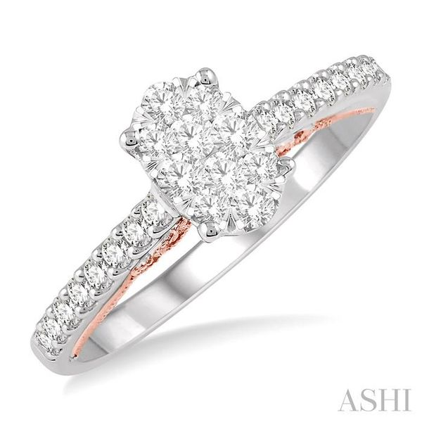 1/2 Ctw Oval Shape Lovebright round Cut Diamond Ring in 14K White and Rose Gold Seita Jewelers Tarentum, PA