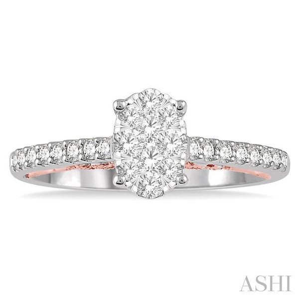 1/2 Ctw Oval Shape Lovebright round Cut Diamond Ring in 14K White and Rose Gold Image 2 Seita Jewelers Tarentum, PA