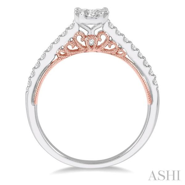 1/2 Ctw Oval Shape Lovebright round Cut Diamond Ring in 14K White and Rose Gold Image 3 Seita Jewelers Tarentum, PA