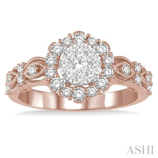3/4 Ctw Diamond Lovebright Ring in 14K Rose and White Gold Image 2 Seita Jewelers Tarentum, PA