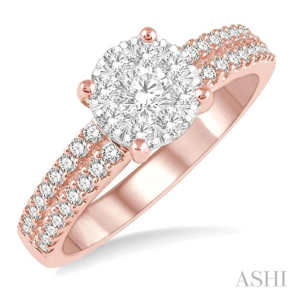 3/4 Ctw Round Lovebright Diamond Cluster Ring in 14K Rose and White Gold Seita Jewelers Tarentum, PA
