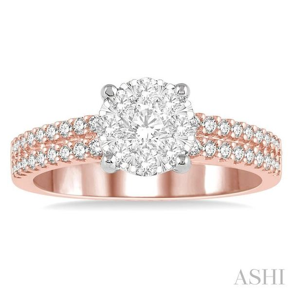 3/4 Ctw Round Lovebright Diamond Cluster Ring in 14K Rose and White Gold Image 2 Seita Jewelers Tarentum, PA