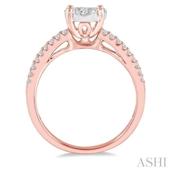 3/4 Ctw Round Lovebright Diamond Cluster Ring in 14K Rose and White Gold Image 3 Seita Jewelers Tarentum, PA