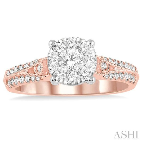 3/4 Ctw Round Shape Lovebright Diamond Cluster Ring in 14K Rose and White Gold Image 2 Seita Jewelers Tarentum, PA