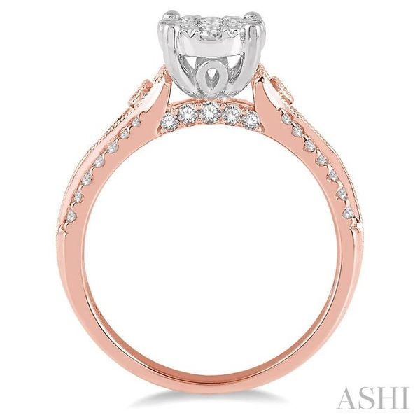3/4 Ctw Round Shape Lovebright Diamond Cluster Ring in 14K Rose and White Gold Image 3 Seita Jewelers Tarentum, PA